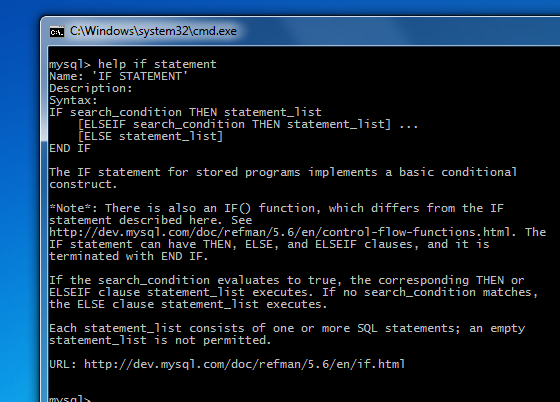 WB Screenshot (Windows) Help in the command line client