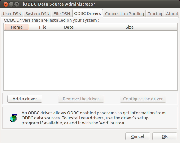 The iODBC Data Source Administrator