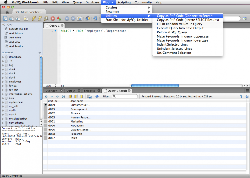 Screenshot of SQL Editor with PHP Plugins