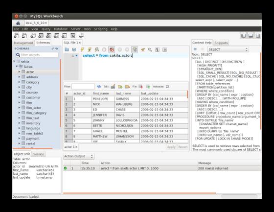 WB Screenshot (Ubuntu) SQL Editor