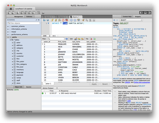 WB Screenshot (Mac) SQL Editor